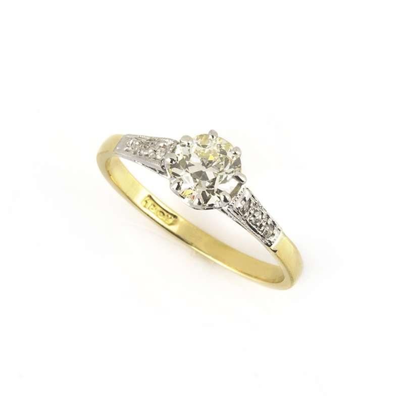 18k Yellow Gold Round Brilliant Cut Diamond Ring 0.75ct K/SI1